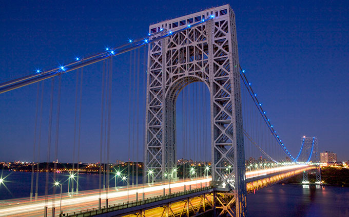 George Washington Bridge lit up in blue for prostate cancer awareness