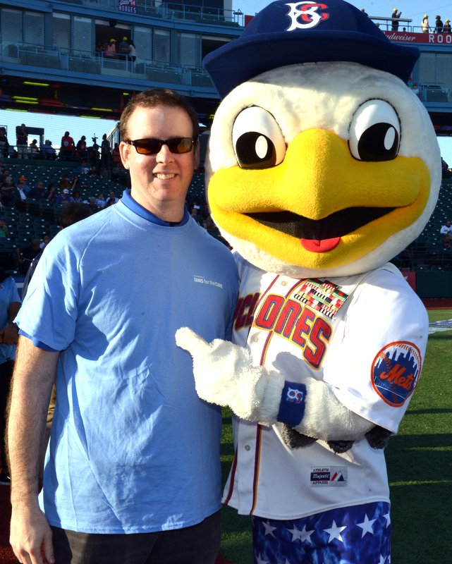 Dr. Corcoran with the Brooklyn Cyclones mascot
