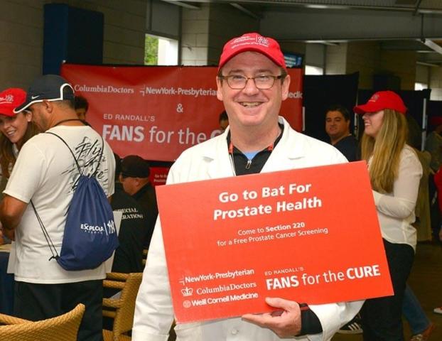 Dr James McKiernan leading the PSA screening at Yankee Stadium