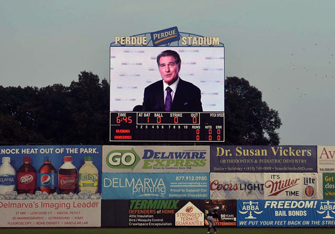 Steve Garvey delivering a video PSA about prostate cancer testing and treatment
