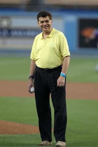 Ed Randall prepares to throw the first pitch at Dodger Stadium