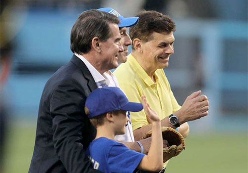 Steve Garvey and Ed Randall at Dodger Stadium, making the pitch for early detection.