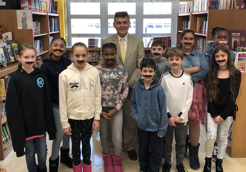 Ed Randall with Student Council at Bergen Beach School