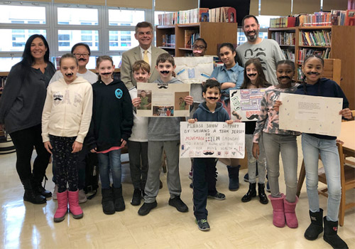 Ed Randall with the Student Council at PS 312 in New York City