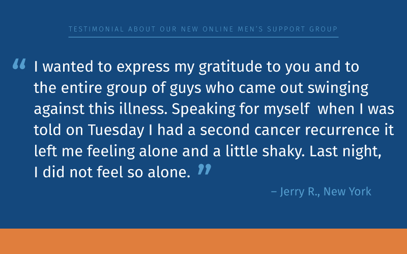 Prostate cancer online men's support group testimonial