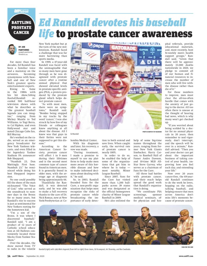 Article about Ed Randall and Fans for the Cure in amMetro NY